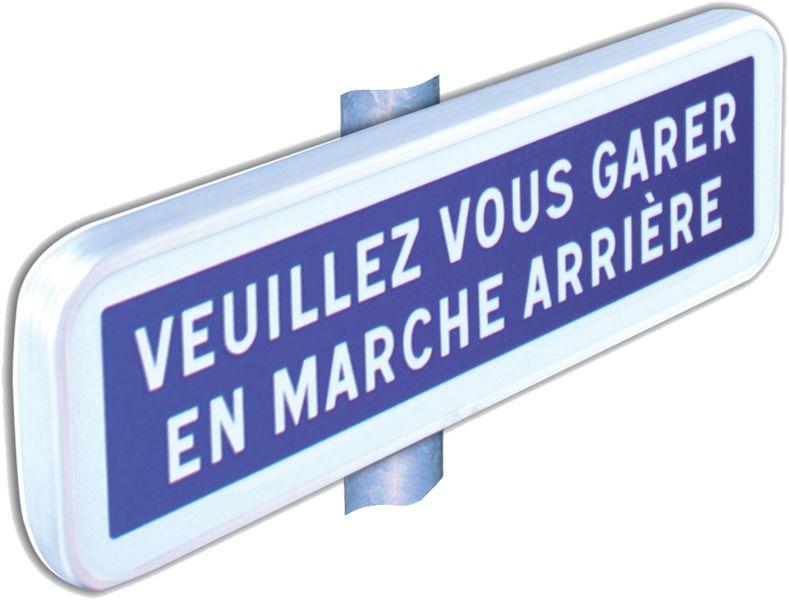 Panonceau Alu Veuillez vous garer en marche arrière (photo)