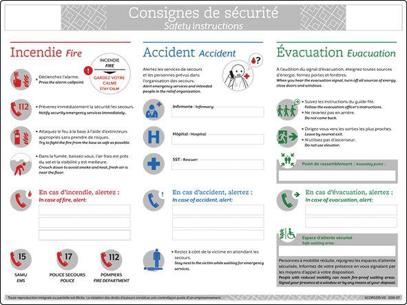 Affichage réglementaire consignes en cas d'accident