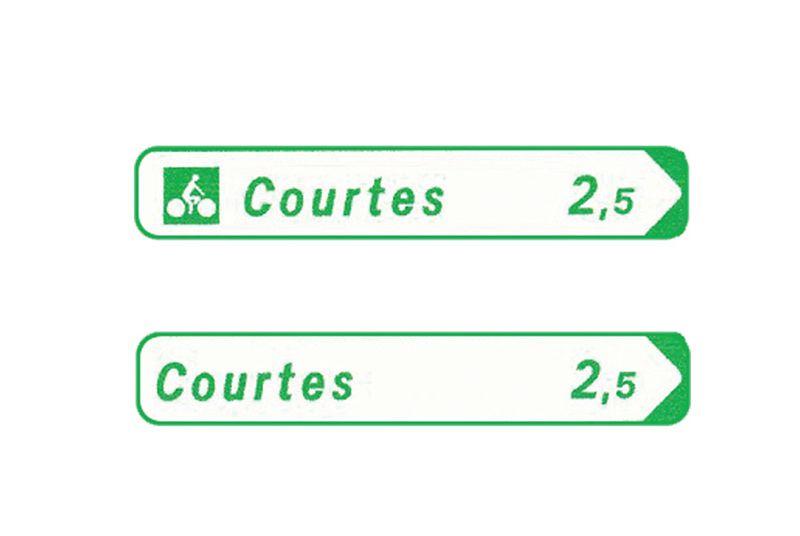 Panneau de jalonnement pistes cyclables Texte/Flèche