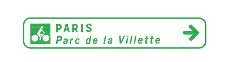 Panneau de jalonnement pistes cyclables Texte/Fléche (photo)