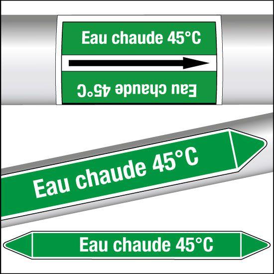 Marqueurs de tuyauterie CLP Eau chaude 45°C (photo)