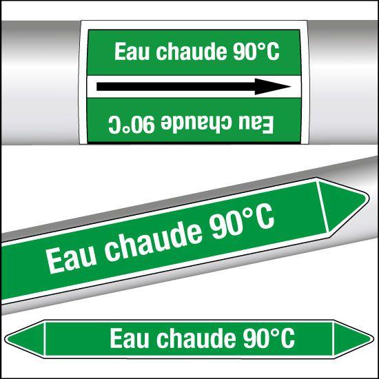 Marqueurs de tuyauterie CLP Eau chaude 90°C (photo)