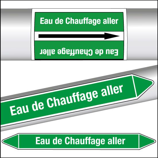 Marqueurs de tuyauterie CLP Eau de Chauffage aller (photo)