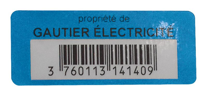 Etiquettes adhésives de propriété avec code barres (photo)