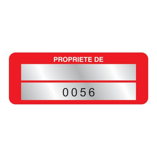 Etiquettes de propriété numérotation personnalisables