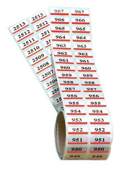 Etiquettes prénumérotées de 1 à 2500