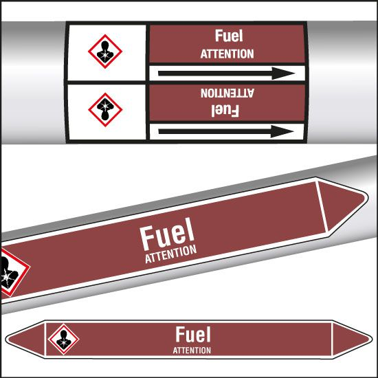 Marqueurs de tuyauterie CLP Fuel (photo)