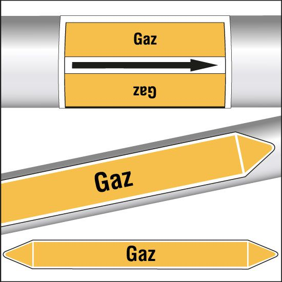 Marqueurs de tuyauterie CLP Gaz