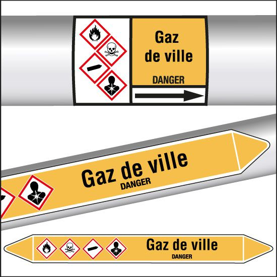 Marqueurs de tuyauterie CLP Gaz de ville (photo)