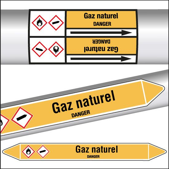 Marqueurs de tuyauterie CLP Gaz naturel (photo)