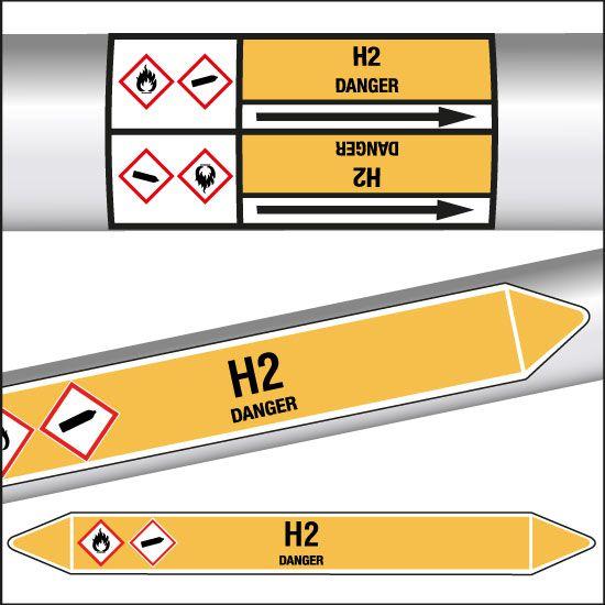 Marqueurs de tuyauterie CLP H2 (photo)