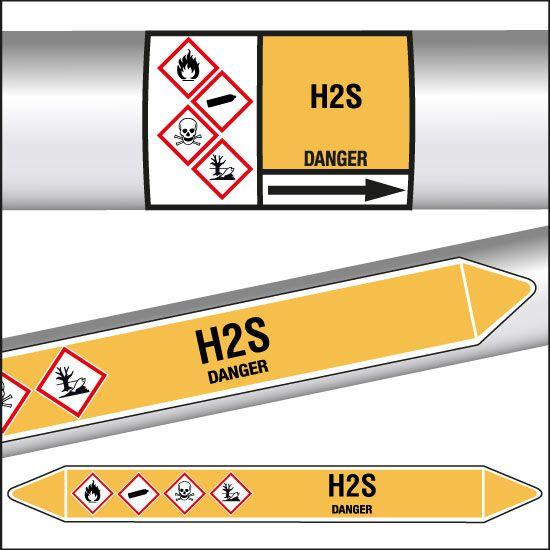 Marqueurs de tuyauterie CLP H2S (photo)
