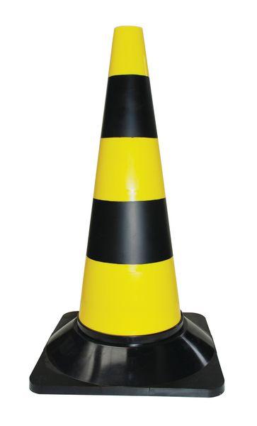 Cône en plastique jaune et noir