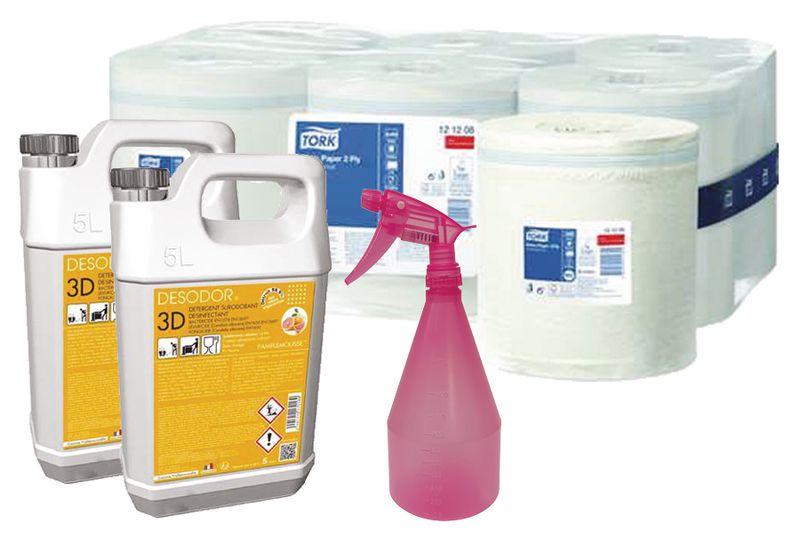 Kit désinfection bobines, désinfectants + vaporisateur