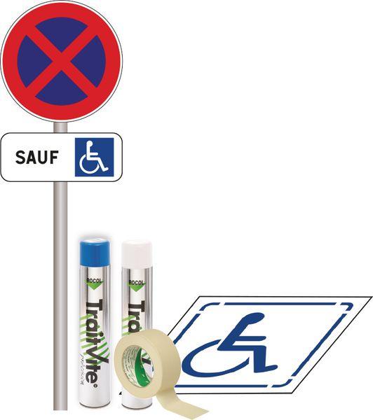 kit panneau et pochoir stationnement handicap signals. Black Bedroom Furniture Sets. Home Design Ideas