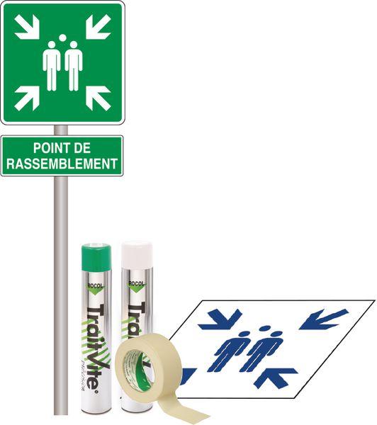 Kit Panneau et Pochoir Point de rassemblement (photo)