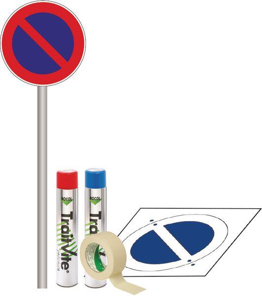 Kit Panneau et Pochoir Stationnement Interdit