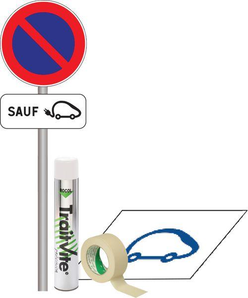 Kit Panneau et Pochoir Parking véhicule électrique (photo)