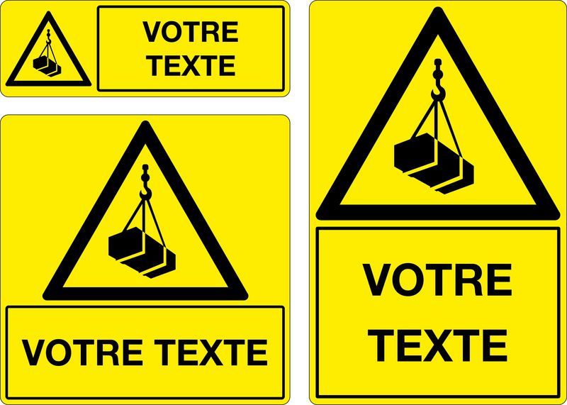 Panneau personnalisé Attention engins de levage (photo)