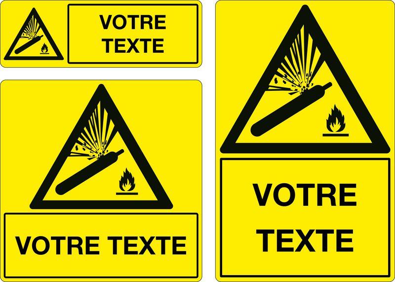 Panneau personnalisé Bouteille gaz sous pression (photo)