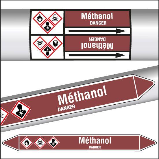 Marqueurs de tuyauterie CLP Méthanol inflammable (photo)