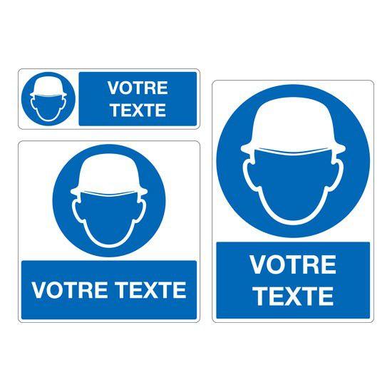 Panneau Port du casque obligatoire personnalisé (photo)