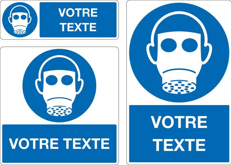 Panneau Port du masque respiratoire oblig. personnalisé (photo)