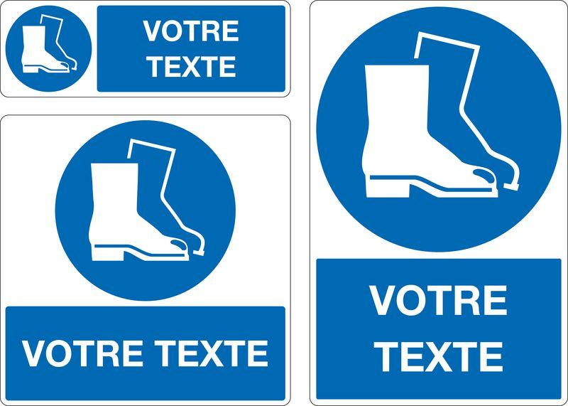 Panneau Port chaussures de sécurité oblig. personnalisé (photo)