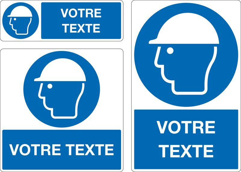 Panneau personnalisé Casque de protection obligatoire (photo)