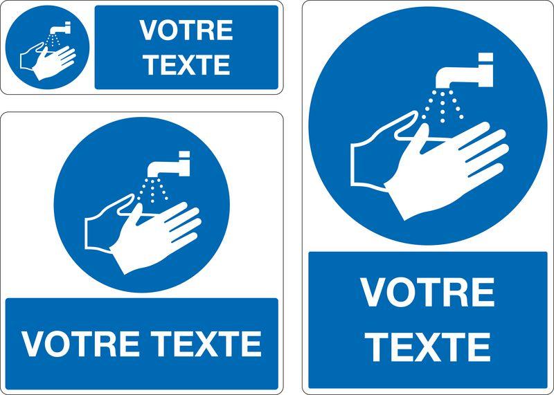 Panneau personnalisé Lavage des mains obligatoire (photo)