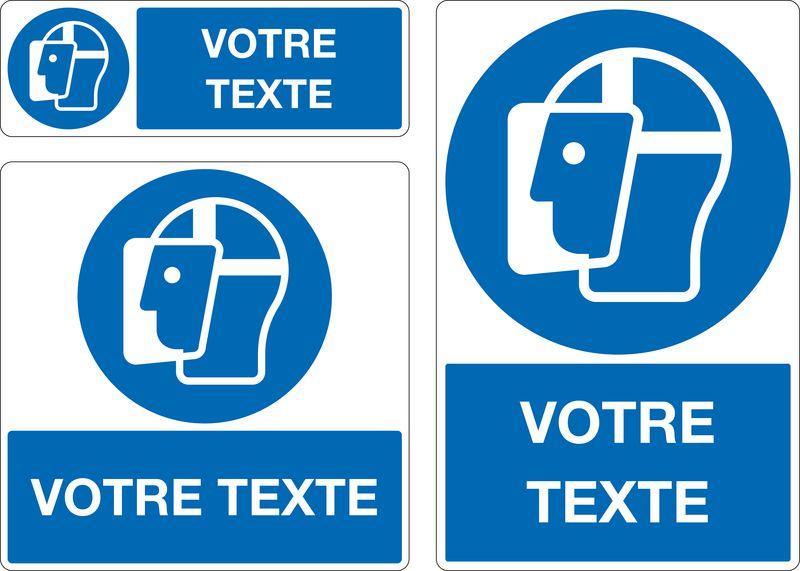 Panneau Port de la visière obligatoire personnalisé (photo)
