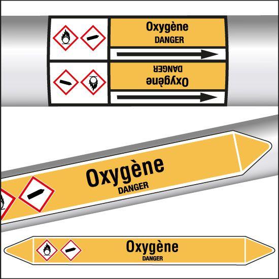 Marqueurs de tuyauterie CLP Oxygène (photo)