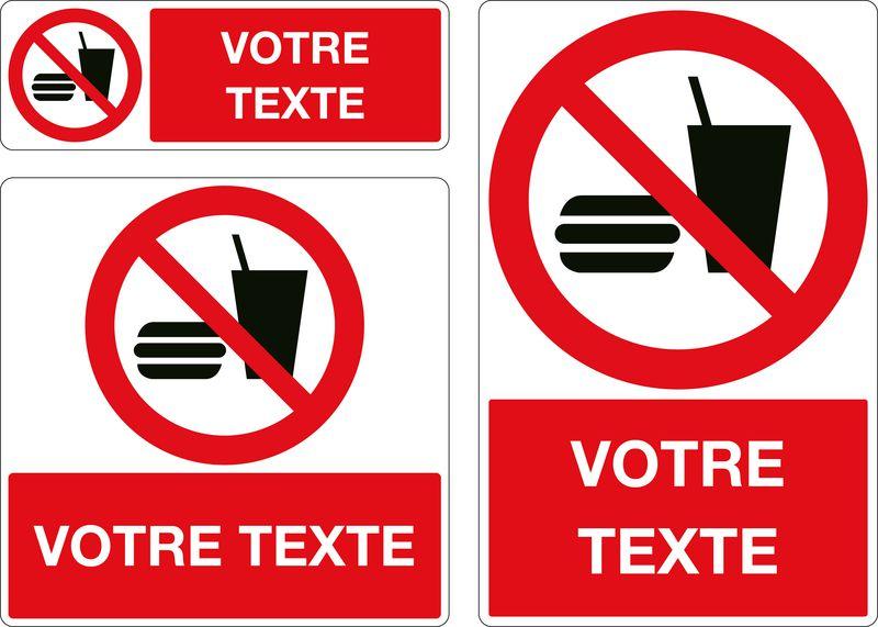 Panneau personnalisé Interdiction de boire et manger (photo)