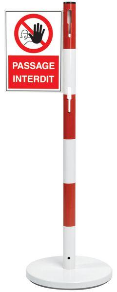 Support PVC A4 Passage Interdit pour poteaux acier