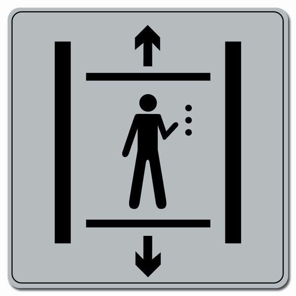Symbole Plexi fond gris Ascenceur (photo)
