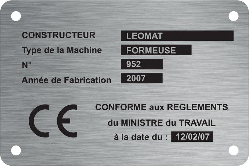 Plaque de machine Inox gravée personnalisée (photo)