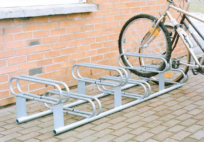 Range vélos au sol 6 vélos 2 niveaux galvanisé