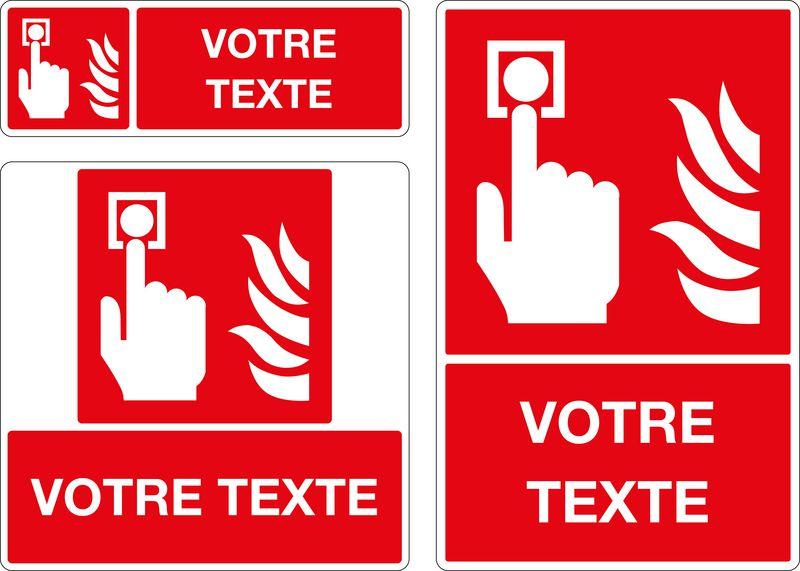 Panneau personnalisé Bouton alarme incendie (photo)