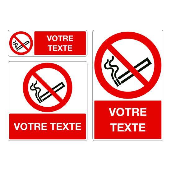 Panneau personnalisé Défense de fumer