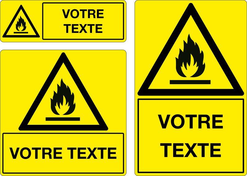Panneau personnalisé Matières inflammables (photo)