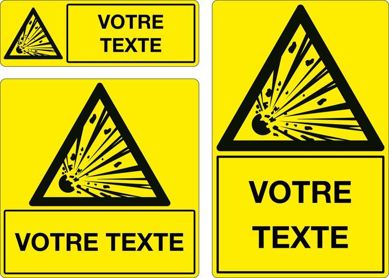 Panneau personnalisé Matières explosives (photo)