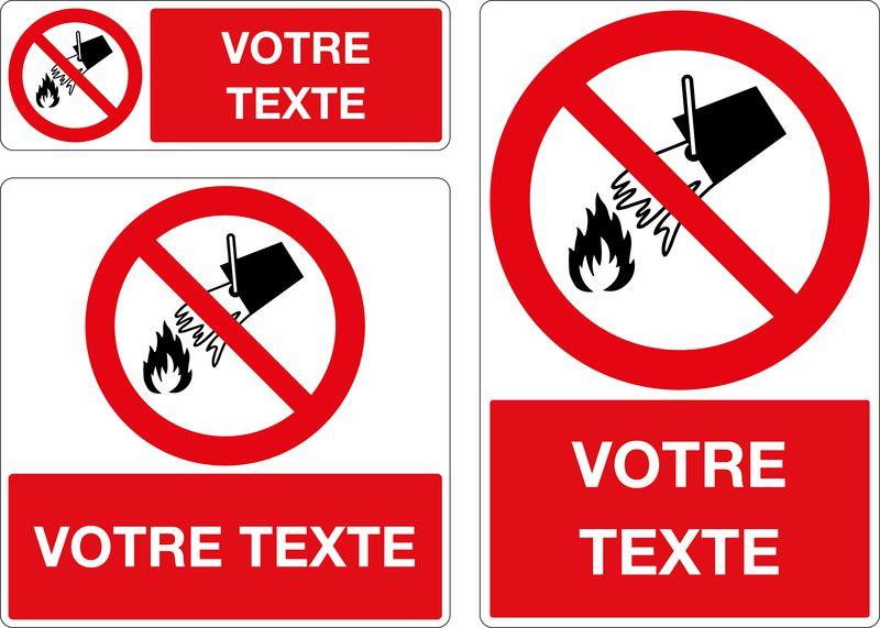 Panneau personnalisé Défense d'éteindre avec de l'eau (photo)