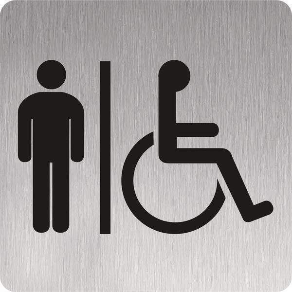 Signalétique alu brossé Toilettes hommes handicapés