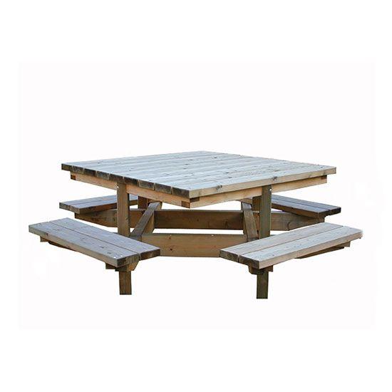 """Table """"Toutencarrée"""" avec 4 bancs pour 8 personnes"""