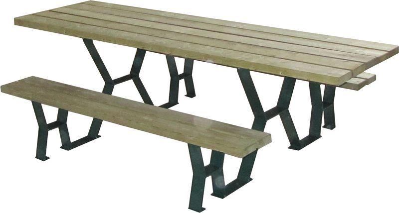 Tables pique-nique en bois et métal (photo)