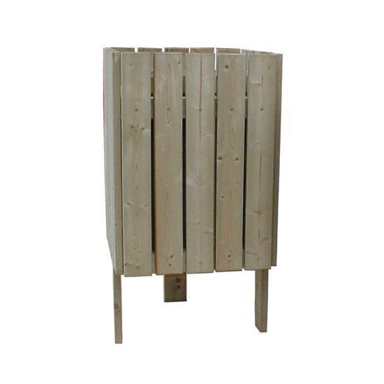 Corbeille de propreté Lausanne bois massif 50 ou 110 l