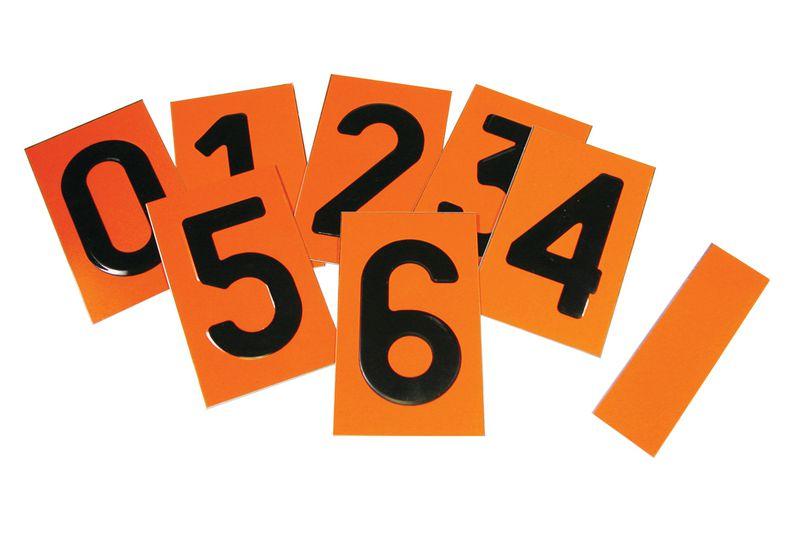 Plaquettes chiffres amovibles orange rétroréfléchissant