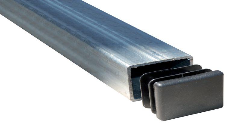 Poteaux galvanisés 80 x 40 mm avec obturateur plastique