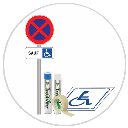 Kit Panneau et Pochoir Stationnement Handicapé