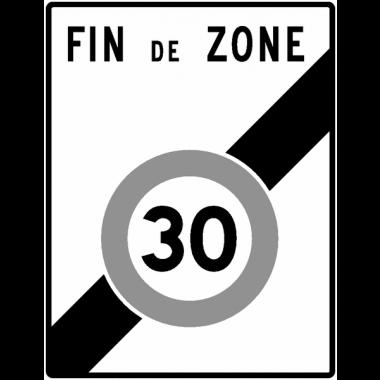 Panneau Alu Sortie de zone vitesse limitée